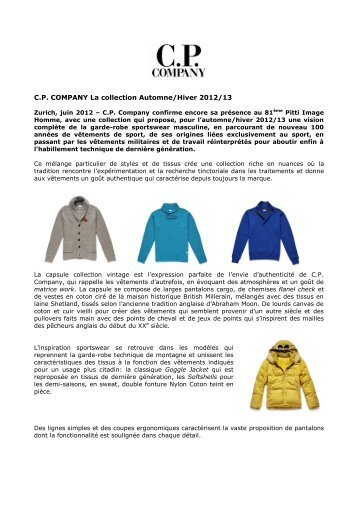 C.P. COMPANY La collection Automne/Hiver 2012/13 - PRfact AG