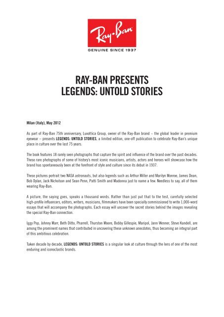 Ray Ban Presents Legends Untold Stories