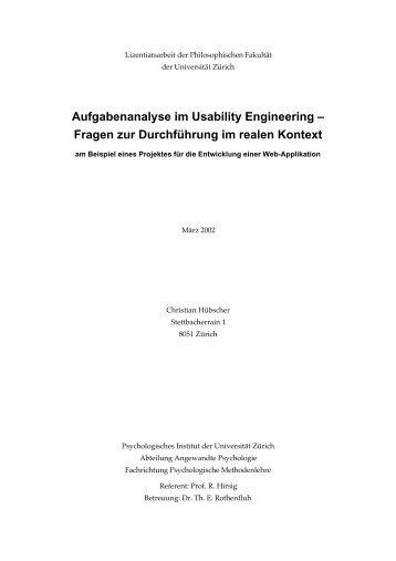 Aufgabenanalyse im Usability Engineering - Christian Hübscher
