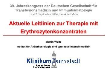 Prof. M. Welte, Darmstadt: Neue Leitlinien zur Therapie