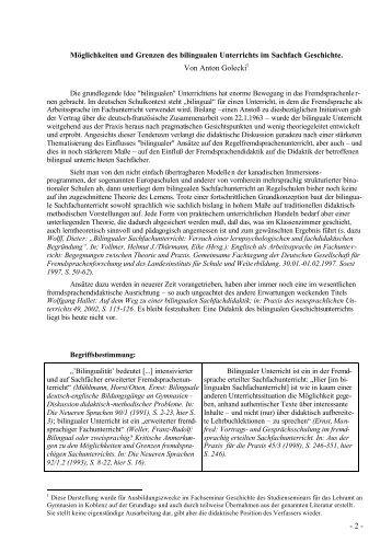 - 2 - Möglichkeiten und Grenzen des bilingualen Unterrichts im ...