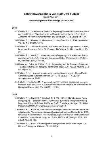 schriftenverzeichnis von rolf uwe flbier lehrstuhl fr - Ausformulierter Lebenslauf Muster