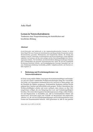 Anke Hanft Lernen in Netzwerkstrukturen - Zeitschrift Arbeit