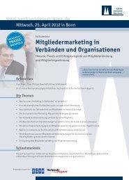Mitgliedermarketing in Verbänden und Organisationen - Deutsches ...