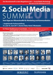Programm des Social Media Summit 2011 - The Conference Group ...