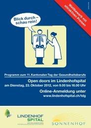 Open doors im Lindenhofspital Online-Anmeldung unter Blick durch ...