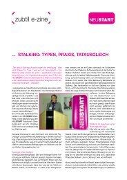 ... STALKING: TYPEN, PRAXIS, TATAUSGLEICH - Neustart
