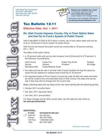 Utah Tax Bulletin 12-11 - Utah State Tax Commission - Utah.gov