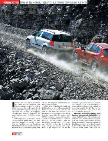 BMW X1 20d x-drive, Skoda Yeti 2.0 tdi und toYota rav4 2.2 d-cat ...
