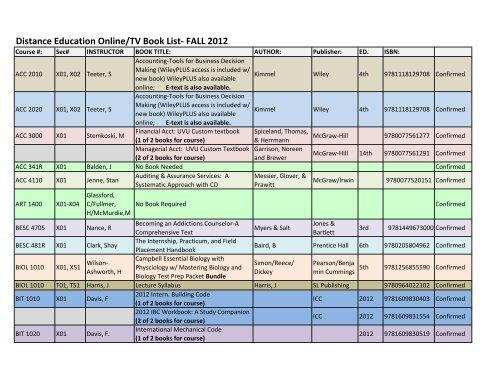Uvu 2020 Summer Schedule.Online Fall 2012 Booklist Uvu