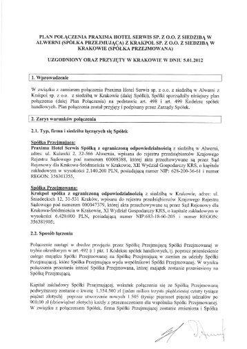 plan połągzenia praxima hotel serwis sp. z 0.0. z siedzibą w alwerni