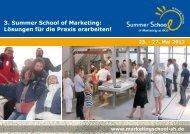 3. Summer School of Marketing: Lösungen für die Praxis erarbeiten!