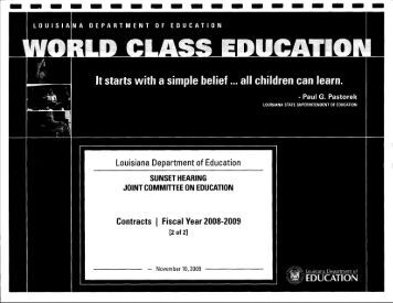 Louisiana Department of Education - Louisiana Department of the ...