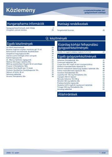 Hungaropharma ZRt. 2008 - 12 számú közlemény