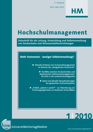 Heft 1 / 2010 - UniversitätsVerlagWebler
