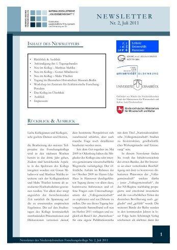 Newsletter des Niedersächsischen Forschungskollegs II ... - FOKO-NS