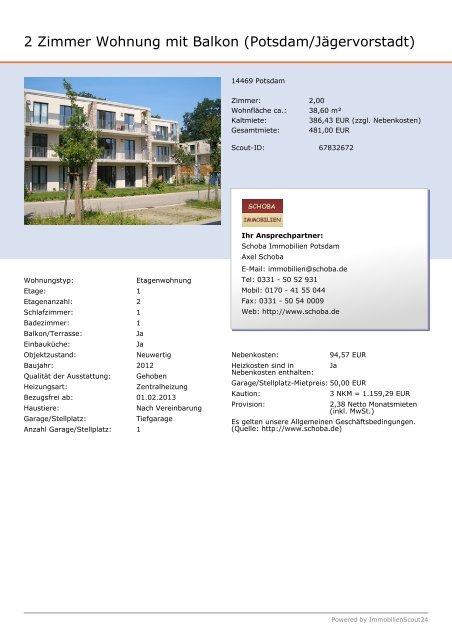 2 Zimmer Wohnung mit Balkon (Potsdam/Jägervorstadt) - Schoba ...