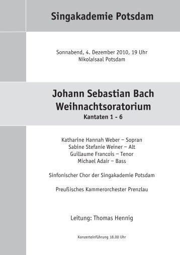 Singakademie Potsdam Johann Sebastian Bach Weihnachtsoratorium