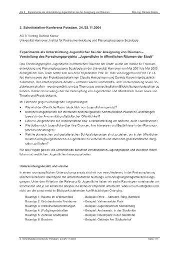 3. Schnittstellen-Konferenz Potsdam, 24./25.11.2004 Experimente ...