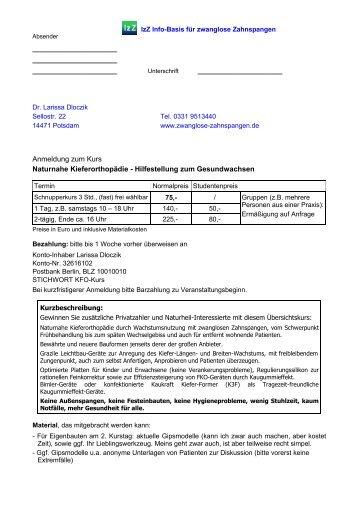 Anmeldung zum Kurs Naturnahe Kieferorthopädie - Hilfestellung ...