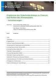 Ergebnisse des Dialogs zur Versicherungen - Kompetenzzentrum ...