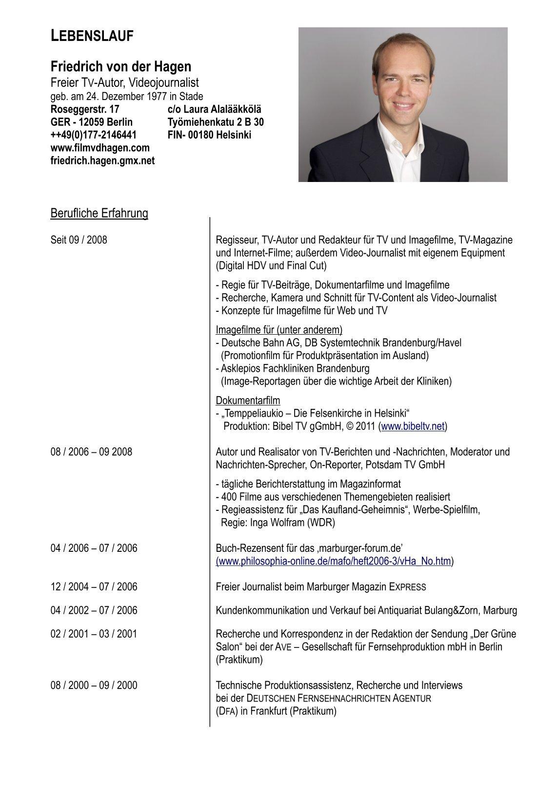Groß Tv Nachrichtenredaktion Lebenslauf Fotos - Entry Level Resume ...
