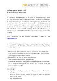 Praktikum im Bereich - Popakademie Baden-Württemberg
