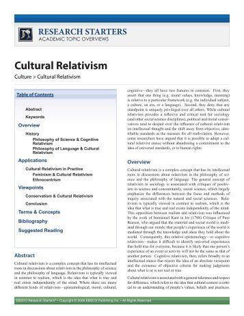 Why the World is the Way It Is, Cultural Relativism and It.