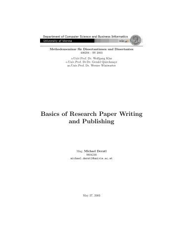 basics of research paper writing and publishing An abstract, or summary, is published together with a research article, giving the   robert s day, how to write and publish a scientific paper, 4th edition, oryx.