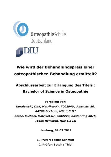 Bachelor of Science in Osteopathie