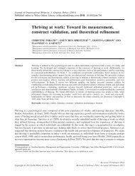 Thriving at work: Toward its measurement, construct validation, and ...