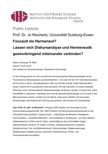 Foucault Als Hermeneut? - Institute for Advanced Studies