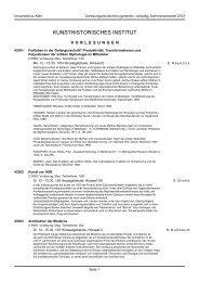 KUNSTHISTORISCHES INSTITUT - koost - Universität zu Köln