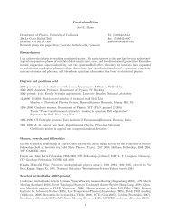 Curriculum Vitae Joel E. Moore Department of Physics, University of ...