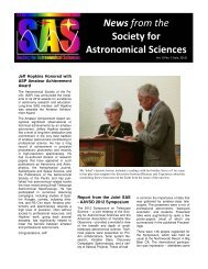 Vol 10, No. 3 Newsletter - Society for Astronomical Sciences
