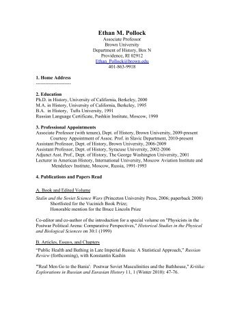 Ethan M. Pollock - Research - Brown University