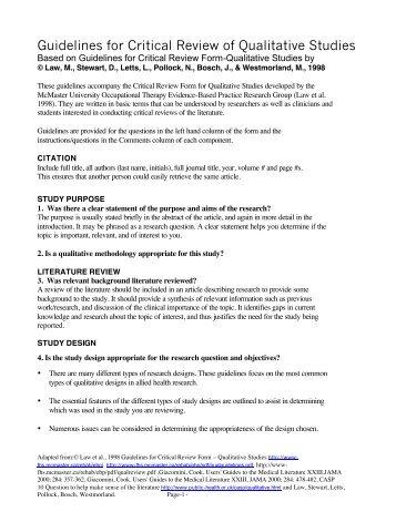critical review form qualitative studies version 2 0