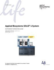 Applied Biosystems SOLiD® 4 System Instrument Operation Guide ...
