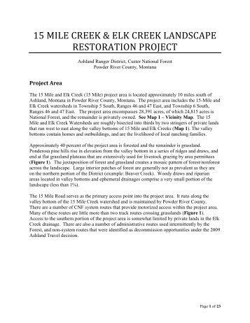 15 mile creek & elk creek landscape restoration - USDA Forest Service