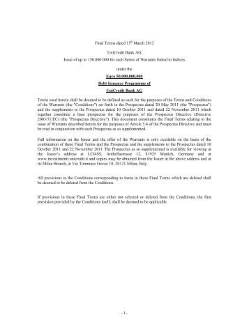 Final Terms dated 15th March 2012 UniCredit Bank AG Issue of up ...