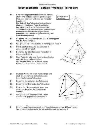 raumgeometrie prisma w rfel quader mathe physik aufgaben. Black Bedroom Furniture Sets. Home Design Ideas