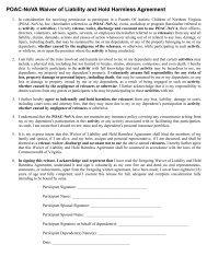 POAC-NoVA Waiver of Liability and Hold Harmless Agreement