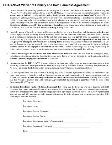 Release Of Liability And Hold Harmless Agreement Statesboro