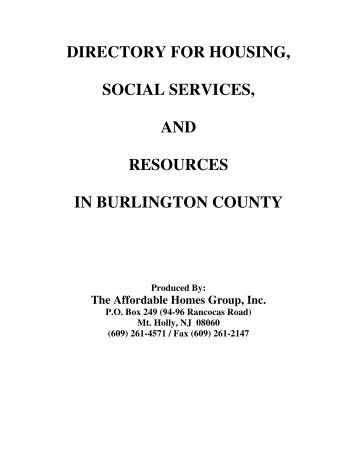 Directory for housing, social services, and - the Affordable Homes ...