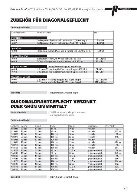 Drahtgeflechte/Gittermatten (316 KB) - Pletscher & Co. AG