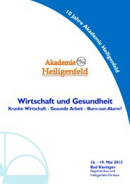 Wirtschaft und Gesundheit - Akademie Heiligenfeld