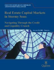 Real Estate Capital Markets in Stormy Seas - Queen's University