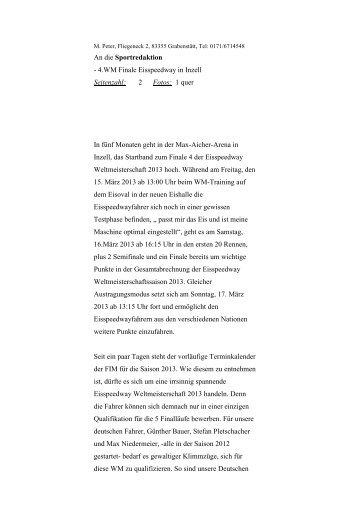 An die Sportredaktion - 4.WM Finale Eisspeedway in Inzell ...