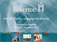 New RCT System - engaging with Revenue - Information Sessions