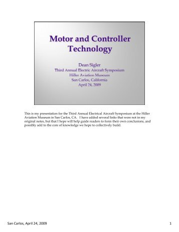 Electric Motors and Controllers for Use in ... - CAFE Foundation